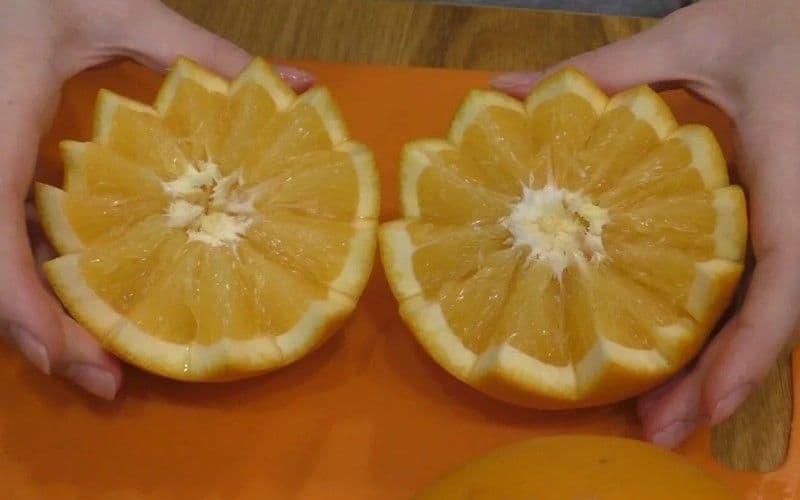 разрезаем апельсин фигурным ножом