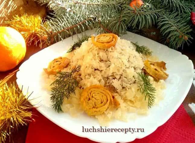 салат улитки на снегу