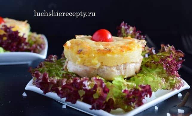 куриные медальоны с ананасами и сыром