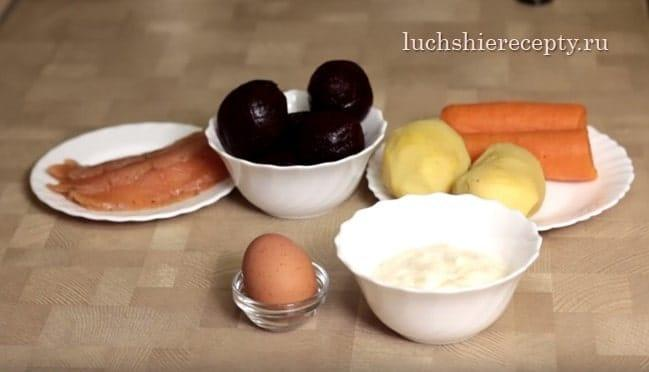 продукты для салата семга на шубе