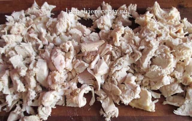 режем или рвём филе на кусочки