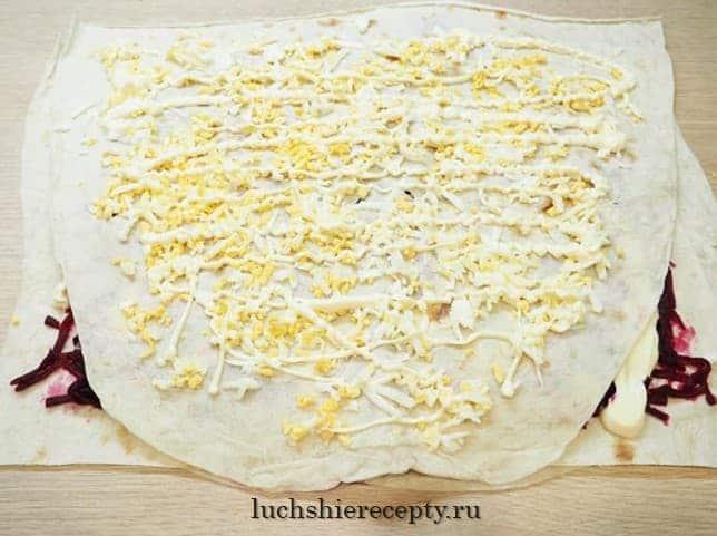 салат под шубой в лаваше 3 слой яйца