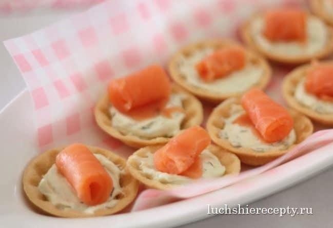 закуски на тарталетках с красной рыбой