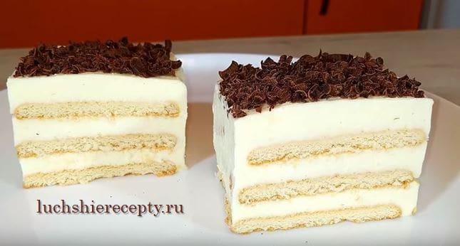 творожный торт без выпечки с печеньем