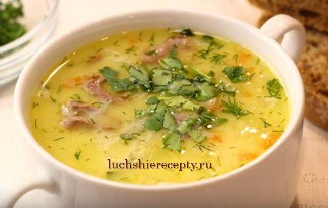 Сырный куриный суп с плавленым сыром