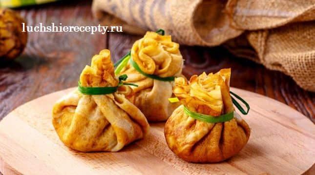 блинные мешочки – начинка с курицей и сыром