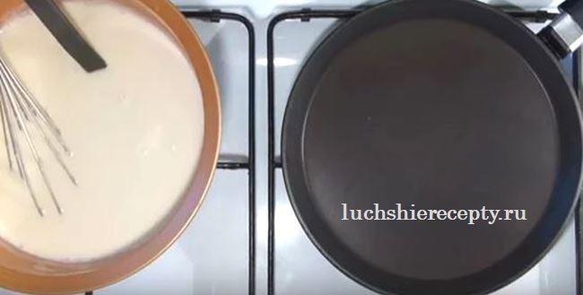 подготовим блинное тесто и сковороду