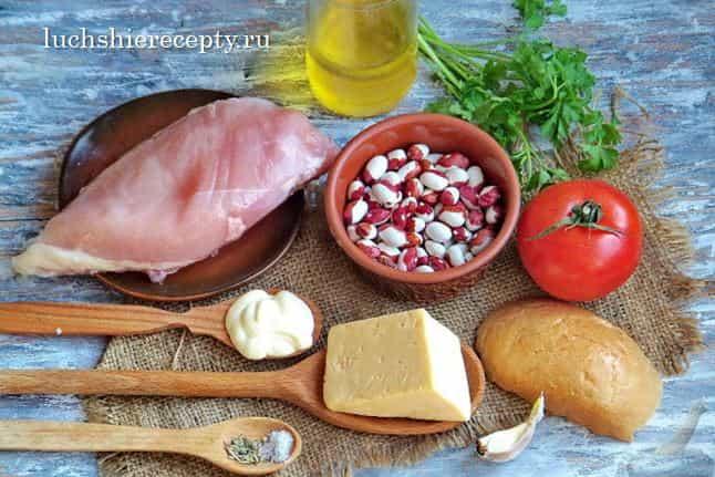 продукты для салата с фасолью и курицей