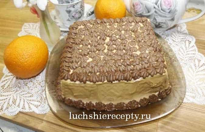 украшаем торт кремом из какао