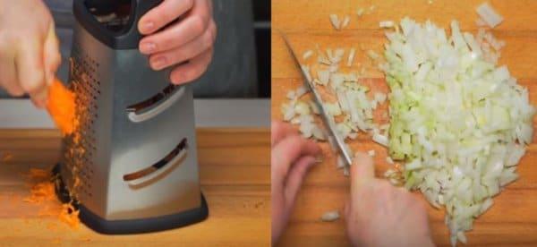 шинкуем морковку и нарезаем лук