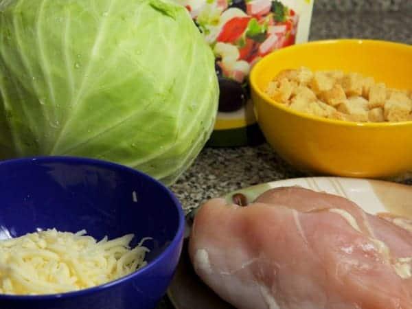 продукты для салата из капусты и курицы