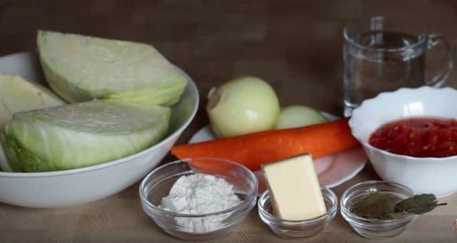 продукты для тушёной капусты