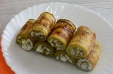 Рулетики из кабачков с творогом сыром и чесноком