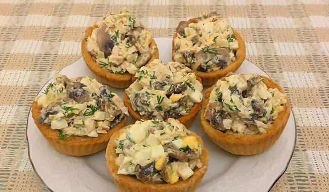 тарталетки с курицей и грибами