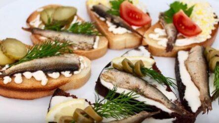 Бутерброды со шпротами на праздничный стол простые и вкусные рецепты