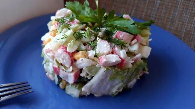 рецепт крабового салата с пекинской капустой