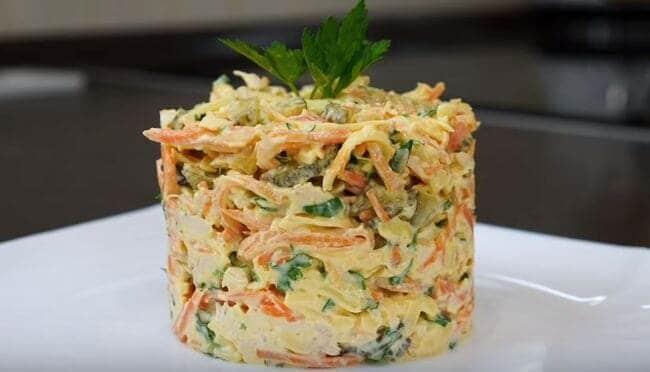 рецепт салата лисичка с корейской морковкой и курицей