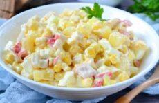 Салат с крабовыми палочками и ананасом - очень вкусный рецепт