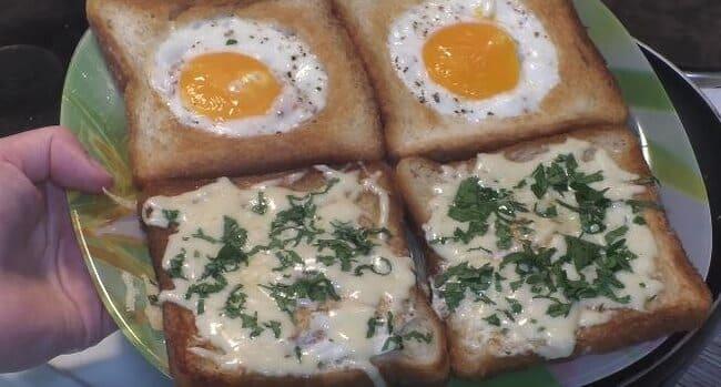 бутерброды с яйцом и сыром за 5 минут