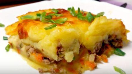 картофельная запеканка с фаршем в духовке-1