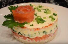 Салат с семгой слабосоленой слоями очень простой рецепт