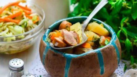 тушёная картошка с сосисками-1