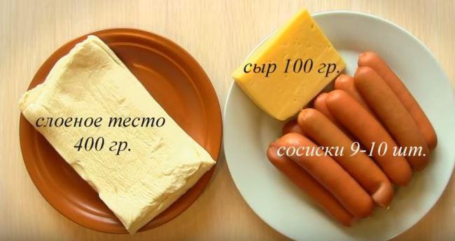 для рецепта сосисок берем продукты