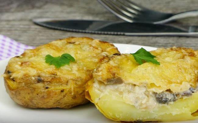 фаршированная картошка с грибами и сыром в духовке