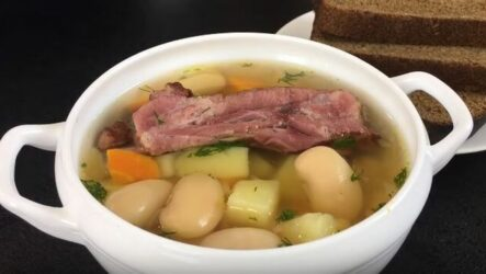 Фасолевый суп с копченостями быстрого приготовления