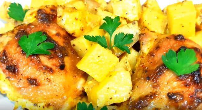 куриные бёдрышки с картошкой в духовке