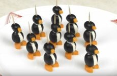 Пингвины из маслин веселая и праздничная закуска