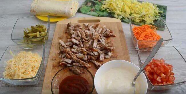 продукты для рецепта шаурмы