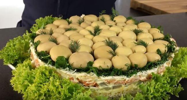 рецепт салата грибная поляна с фото пошагово