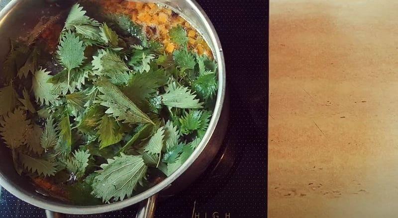 отправляем в кастрюлю листики крапивы