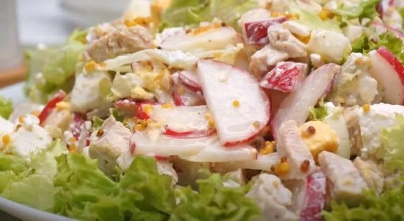 салат с редиской сыром и курицей