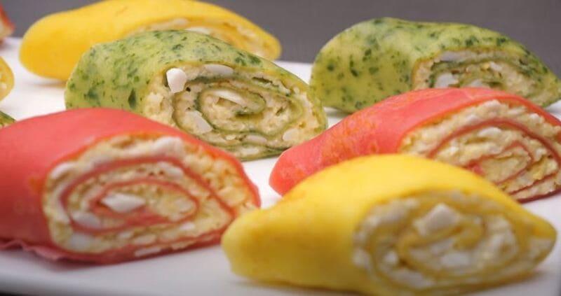 рецепт закуски из цветных блинов с начинкой