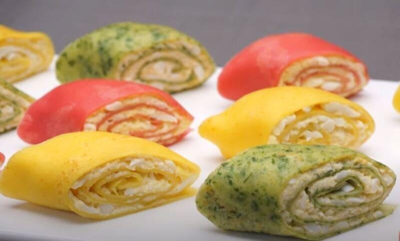 закуска из цветных блинов
