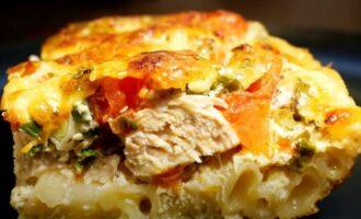 рецепт запеканки из макарон с курицей